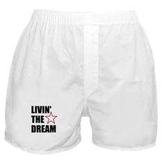 LIVIN' THE DREAM - black font Boxer Shorts