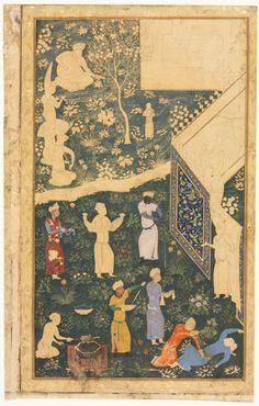 Garden Scene (recto); Persian Couplets (verso)