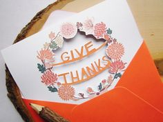 Give Thanks Paper Cut Greeting Card  Thanksgiving by AshleyPahl, $8.00