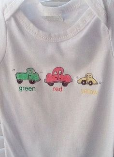 This baby bodysuit is decorated with primary colored cars with color name under each. Its a fun design and sure to please your little guy. Sizes