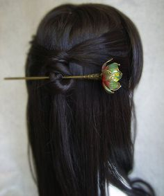 Gradually changes in color the blue water lily/Lotus hair sticks/ hair pin/ hair accessories/hair comb/ Bridal headpieces//Chinese Kanzashi on Etsy, $42.00