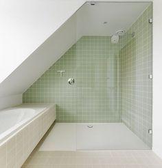 Bathrooms Remodel, Marble Bathroom, Bathroom Wallpaper, Attic Bathroom, Bathroom Design, Small Attic Bathroom, Green Bathroom, Cheap Bathroom Remodel, Bathroom Layout