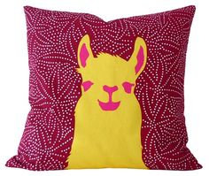 pillow case Llama Red and Yellow by firstlamainspace on Etsy, $48.00