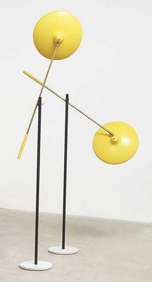 Vintage Italian modernist directional floor lamps, probably Stilnovo.