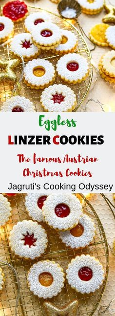 Eggless Linzer Cookies-Step by Step Recipe Pictures Easy Desserts, Delicious Desserts, Dessert Recipes, Bar Recipes, Awesome Desserts, Quick Recipes, Recipes Dinner, Free Recipes, Cookies