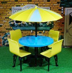 RARE COLORS! Plasco PATIO SET Vintage Dollhouse Furniture Renwal Ideal Plastic #Plasco
