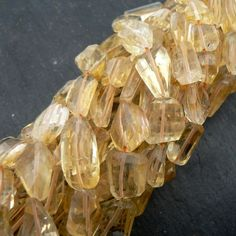 Citrine Step Cut Faceted Nuggets 11 inch Strand
