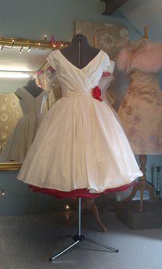 Time For Tea ~ Tea Length Wedding Dresses by Independent Dress Designer, Joanne Fleming... Do pink instead of red.