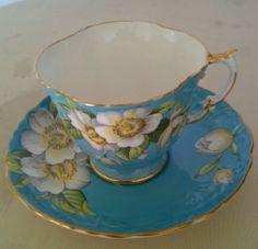 Vintage Aynsley Turquoise Blue Floral Bone China Teacup & Saucer England