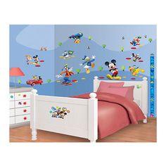 Walltastic Muurstickers Disney Mickey Mouse. Afmetingen: 6 vellen van 46 x 34 cm.De stickers kunnen op elk glad oppervlakte worden geplakt als muren, meubels en zelfs ramen: Eenvoudig aan te brengen, te verplaatsen en te verwijderen. - Walltastic Muurstickers Disney Mickey Mouse