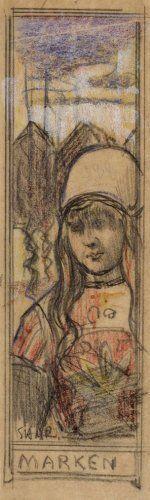 Marken Een ontwerp voor een boekenlegger met een voorstelling van een Marker meisje. Techniek: kleurkrijt. ca 1900 S.H. de Roos Collectie Stadsarchief Amsterdam #NoordHolland #Marken