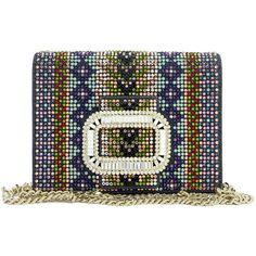 Roger Vivier Pilgrim Micro Strass Shoulder Bag (103,455 THB) ❤ liked on Polyvore featuring bags, handbags, shoulder bags, blue pattern, chain strap purse, print purse, flap purse, buckle handbags and blue handbags
