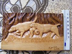 Hunting dogs-wood carving relief and pyrography Relief  - Hunting dogs-wood carving relief and pyrography Fine Art Print