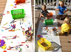 Crayon Party activities - coloring, playdough