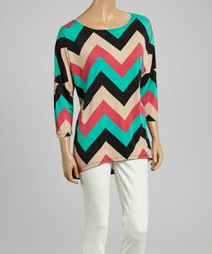 This Black & Pink Zigzag Hi-Low Dolman Top by MOA Collection is perfect! #zulilyfinds