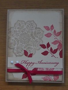 Unique, hand stamped Anniversary card. I used the Day Of Gratitude and Summer Silhouettes stamp sets by Stampin Up. Available on Etsy: https://www.etsy.com/listing/153455119/hand-stamped-anniversary-card?