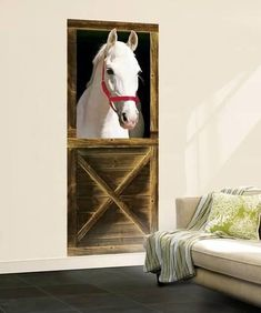 Kids' Room Ideas: Creating a Mural from Wallpaper Horse Themed Bedrooms, Bedroom Themes, Bedroom Decor, Bedroom Ideas, Horse Wallpaper, Normal Wallpaper, Horse Mural, Horse Bedding, Horse Posters
