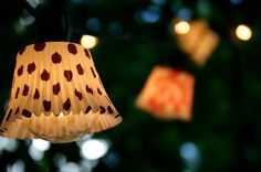 Pin of the Day:    Cupcake liners as outdoor party lights | How-To Instructions | Snappening.com Tip: Seek out the most interesting cupcake liners you can find all year long so that when summer rolls around you've got a nice, wide variety for any party theme.