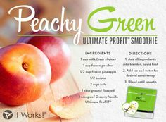 It Works Global Peachy Green Ultimate ProFIT Smoothie! A delicious healthy shake Protein Shakes, Protein Shake Recipes, Healthy Shakes, Smoothie Recipes, Healthy Recipes, Eat Healthy, Yummy Recipes, Recipies, Healthy Living