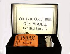 Gift set- Groomsman/Bestman Flask- real wood wrapped personalized hipl flask  - unique gift - classy