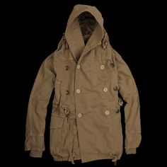 -Made in Japan. This great jacket is Kapital's interpretation of the classic military coat. Made in a handsome cotton twill, it features a drawstring hood, waist and hem and anchor buttons. -100% cotton. -Oversized hooded opening with drawstring. -Double breasted buttoned placket. -Two button...