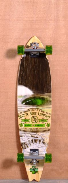 """The Sector 9 Ireland Bamboo Longboard Complete is designed for Cruising and Carving. Ships fully assembled and ready to skate! Function: Cruising, Carving Features: Concave, Swallow Tail, Wheel Wells Material: 5 Ply Bamboo Length: 38"""" Width: 9.375"""" Wheelbase: 26.5"""" Thickness: 7/16"""" Hole Pattern: New School Grip: Clear"""