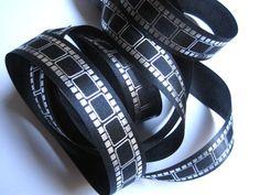 "Film Strip Ribbon Trim, Silver / Black, 7/8"" inch wide, 1 yard, For Scrapbook, Decor, Accessories, Mixed Media"