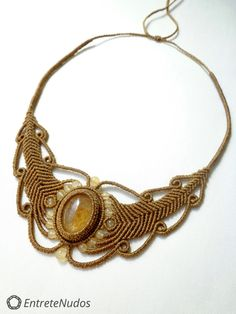 Lovely handcrafted macrame necklace with beautiful Citrine stone and yellow calcite stone beads