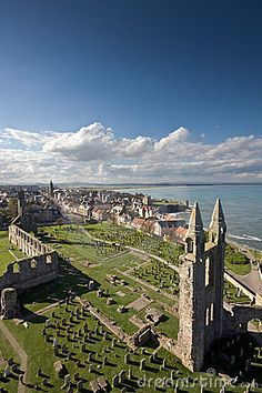 St Andrews viewed from the top of St Rules tower in the cathedral grounds. #Scotland