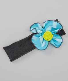 Another great find on #zulily! Sky & Charcoal Chevron Floppy Flower Headband #zulilyfinds