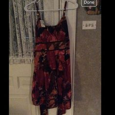 Maurice's Fall printed dress Fall colored maroon dress Maurices Dresses Mini