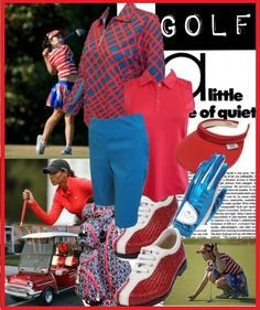 Want to golf in red and blue? Check this golf style at lorisgolfshoppe.polyvore.com #ootd #polyvore #lorisgolfshoppe