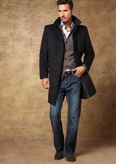 KENNETH COLE Walden Pick Stitched Overcoat #casual #style #menswear