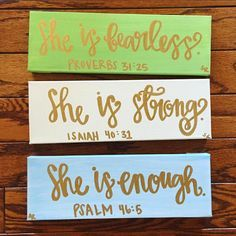 Bible verse canvas - she is enough christian signs scripture wall art christian canvas art proverbs 31 isaiah 40 psalm 46 canvas art set nursery art Bible Verse Canvas, Scripture Art, Bible Verses, Scriptures, Bible Verse Crafts, Bible Verse Painting, Bible Verse Decor, Painting Quotes, Quote Art