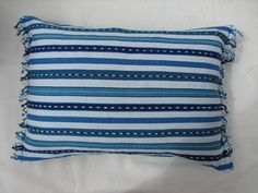 Ikat Stripe Pillow in Caribbean Blue Turquoise by KerrJonesDesign, $45.00