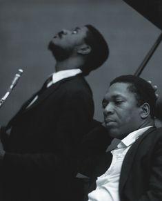 tornandfrayed:  John Coltrane with Pharoah Sanders, Van Gelder Studio, Englewood Cliffs, NJ 1966. Photo by Chuck Stewart.