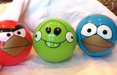 Paint your own balls - thrifty and fantastic...want to do this for Hunter's Easter Eggs this year