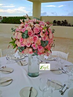Cancun Weddings  Floral decor for weddings & events. www.floreriazazil.com #cancunflorist #pinkweddings #cancunweddingflowers