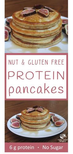 These nut-free and gluten-free pancakes are light, fluffy and packed with protein thanks to chickpea flour and greek yogurt. #proteinpacked #proteinpancakes #Nutfree #GlutenFree #Greekyogurt #chickpeaflour #Healthy #healthybreakfastrecipe #healthypancakes
