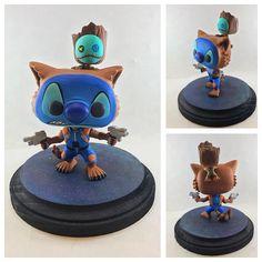 Custom I created of Stitch and Scrump as Rocket Raccoon and Groot Custom Funko Pop, Rocket Raccoon, Pop Collection, Pop Figures, Toothless, Pop Vinyl, Geek Stuff, Fan, Stitch