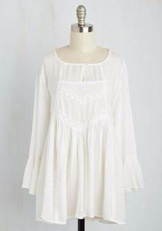 On Cloud Divine Top. The way this white blouse flutters and sways will leave you soaring high! #white #modcloth