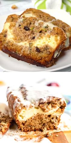Today Im going to share my favorite zucchini bread recipe Its not just any bread though it has a special glaze on top and a surprise cream cheese filling that will leave. Köstliche Desserts, Delicious Desserts, Yummy Food, Baking Recipes, Cake Recipes, Dessert Recipes, Loaf Recipes, Cleaning Recipes, Easter Recipes