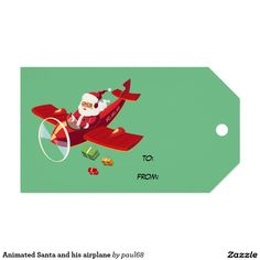 Animated Santa and his airplane Pack Of Gift Tags