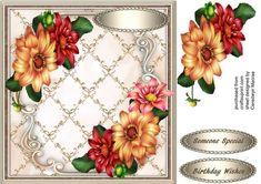 Stunning Dahlias in a Lattace Frame 1 - CUP727839_1398 | Craftsuprint