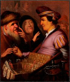 De brillenverkoper, earlierst known painting by Rembrandt, recently purchased by De Lakenhal Leiden