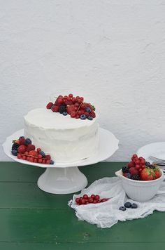 Chocolate Cake with Cream and Berries