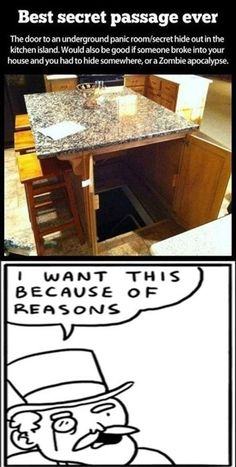 The Best Secret Passage Really Funny Memes, Stupid Funny Memes, Funny Relatable Memes, Haha Funny, Funny Stuff, Random Stuff, Hilarious, Panic Rooms, Cool Inventions