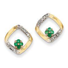 14k Diamond & Emerald Earrings