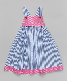 Look at this Blue & Pink Stripe Babydoll Dress & Sash - Toddler & Girls on #zulily today!