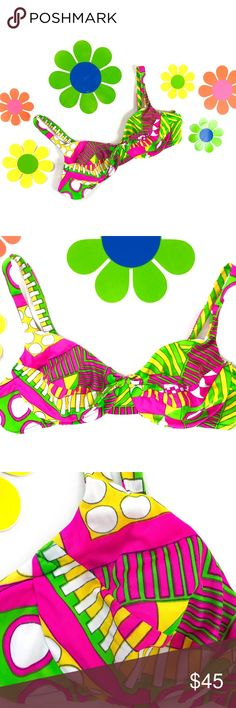 "Vintage 1970s psychedelic op art bathing suit top AMAZING 1970s psychedelic op art print bathing suit top!  DETAILS: +union made by Sears in USA +bow tie in front +underwire cup +neon green, pink and yellow +plastic hook in back +adjustable straps with 4 options +labeled size 36B +refer to all measurements to make sure it works for you  CONDITION: excellent vintage condition, looks unworn  LAYING FLAT, double where needed: 16"" pit to pit 13"" across cups from back 14.5-16"" back strap 8.5-10""…"